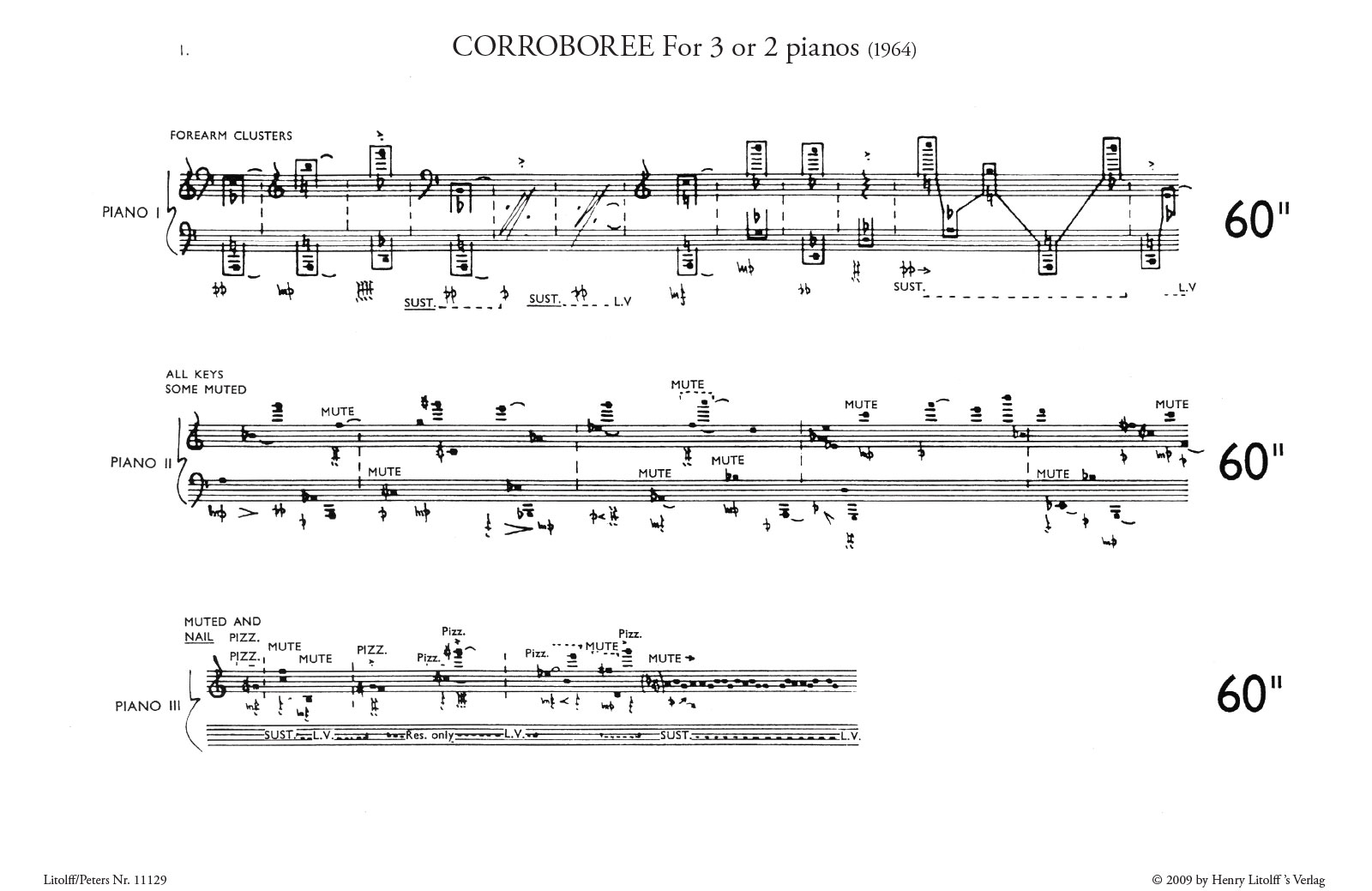 Corroboree: for 3 or 2 Pianos sample page